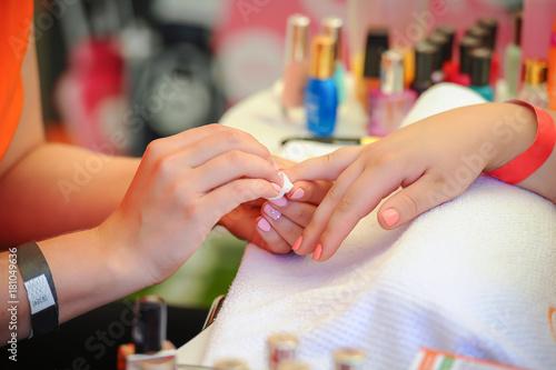 Staande foto Manicure woman nail manicure in salon