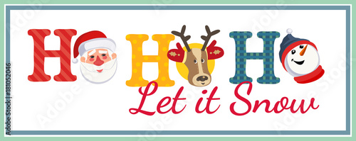 Holiday Poster Cute Santa Claus Reindeer Snowman Fancy Letters