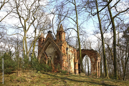 Photo Ruins of Gothic house in Arkadia park. Lowicz county. Poland