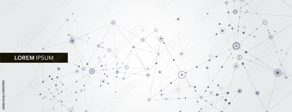Fototapeta Geometric connected line and dots. Simple technology graphic background. Vector banner design