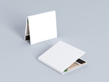 Blank Matches White Book Mock Up, Red Matches 3d Rendering