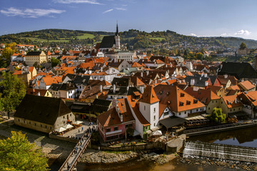 Fototapeta na wymiar View of the Cesky Krumlov,beautiful cityscape in sunny day. Czech Republic.Historical town.UNESCO world heritage.