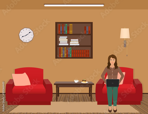 Living Room Interior With Woman Working On A Laptop Furniture
