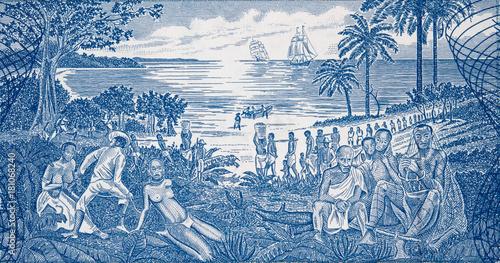 Fotografía  African slave trade on Guinea Bissau 500 peso banknote closeup macro, slavery scene in Africa