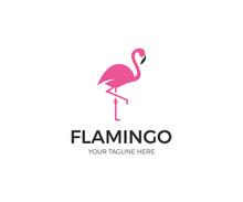 Pink Flamingo Logo Template. B...