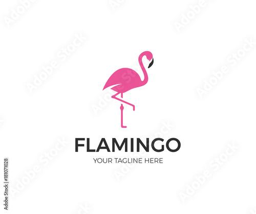 Fototapeta premium Szablon logo Pink Flamingo. Ptak wektor wzór. Ilustracja świata zwierząt