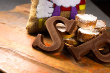 Traditional Dutch Saint Nicolas Celebration With Presents For Children In December, Saint Nicolas  Gift Bag And Chocolate Letters