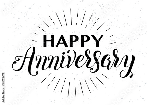 Happy Anniversary hand lettering Tablou Canvas