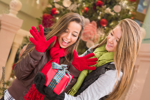 Mixed Race Young Adult Females Exchanging A Christmas Gift In Front ...