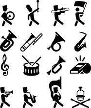 Marching Band Icons - Black Se...