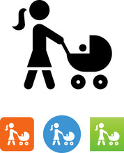 Mother Pushing A Stroller Icon