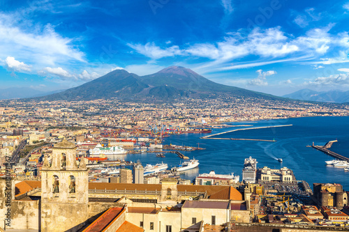 Photo sur Toile Naples Napoli and mount Vesuvius in Italy