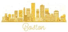Boston USA City Skyline Golden Silhouette.