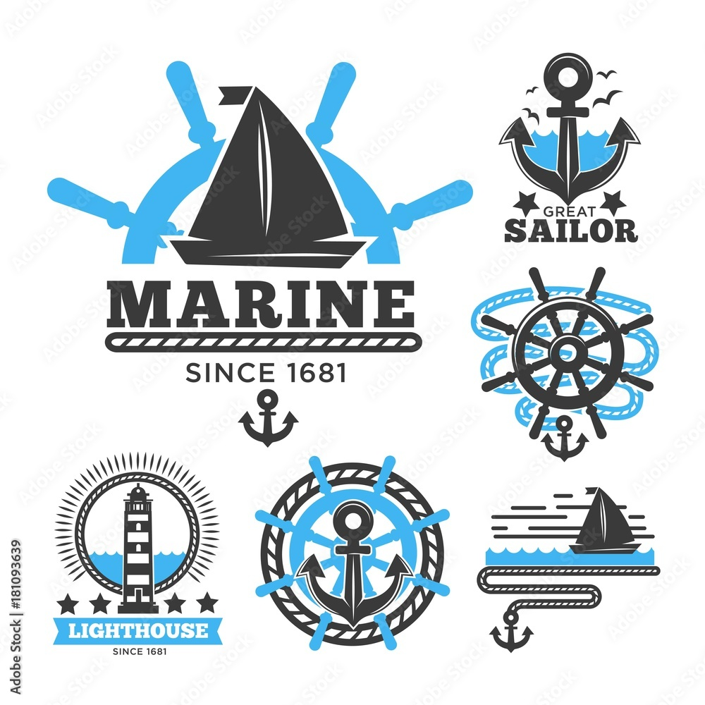Photo Art Print Marine And Nautical Logo Templates Or