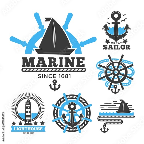 Fotografie, Obraz  Marine and nautical logo templates or heraldic symbols.