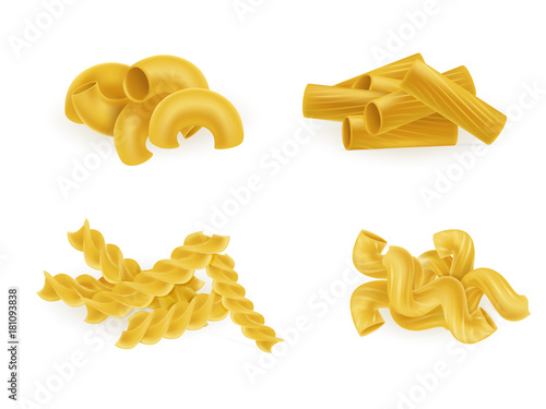 Fotografie, Obraz  Various types and shapes pasta and macaroni realistic vector illustration set isolated on white