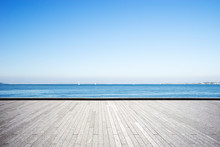 Empty Marble Floor With Blue Sea In Blue Sky