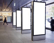 canvas print picture - Blank mock up Light Box set Template Vertical sign stand display Public building