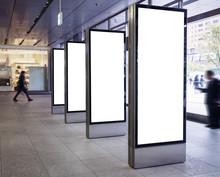 Blank Light Box Media Set Vertical Sign Stand Display Public Building