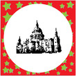 St Paul Cathedral in London England United Kingdom black 8-bit vector illustration isolated on round white background with stars