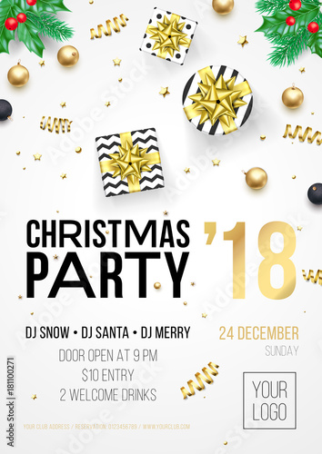 Christmas party invitation poster or december winter holiday christmas party invitation poster or december winter holiday celebration party welcome banner template vector golden maxwellsz
