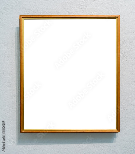 1203a5dab85 Modern Ornate Wood Texture Frame Art Gallery Museum White Clipping Path  Isolated Template White Wall Natural Shadows. For paintings
