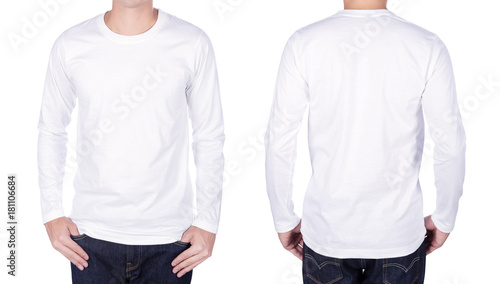 Fényképezés  man in white long sleeve t-shirt isolated on white background