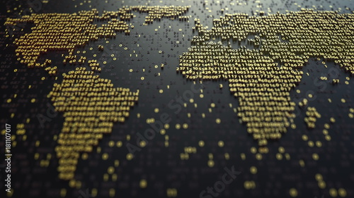 Fotografie, Obraz  World map contour made of golden numbers