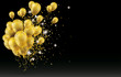 Golden Balloons Golden Particles Confetti Black Background