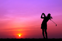 Silhouette Golfer Playing Golf...