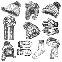 Vector Ink Hand Drawn Style Winter Warm Clothing Set