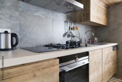 modern wood kitchen counter © Federico Rostagno