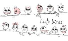 Cute Hipster Birds. Vector Tre...