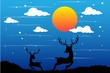 reindeer silhouette scene at night time in winter design concept vector illustration