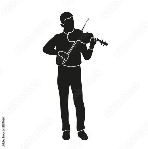 isolated silhouette boy playing the violin - Buy this stock
