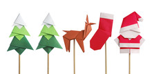Handmade Origami Paper Craft Santa Claus, Green Christmas Trees, Reindeer And Stocking Isolated On White