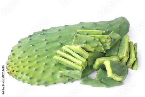 Keuken foto achterwand Cactus Edible green pads of Opuntia cactus