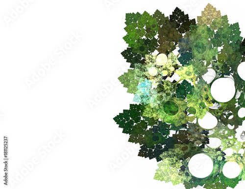 Foto op Aluminium Fractal waves beautiful fractal leaves on white background