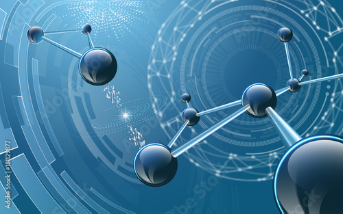 Molecular structure on futuristic background