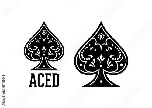 Vászonkép Swirls and Classic Black Spade Ace Poker Casino Illustration Logo SIlhouette