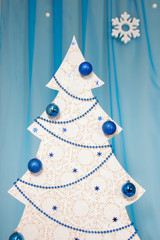 White Christmas tree with balls and beads
