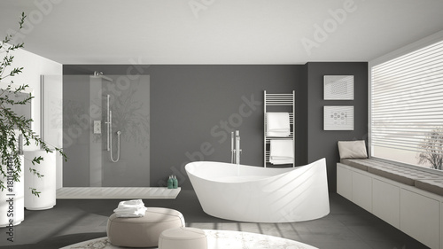 Fototapeta Modern classic bathroom with big round carpet, large panoramic window, minimalistic white and gray interior design obraz
