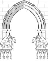 Gothic Arch With Gargoyles Han...