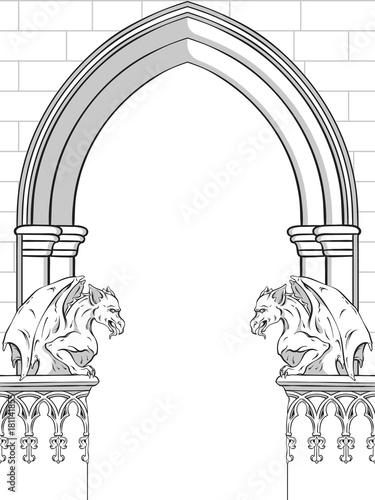 Obraz na plátne Gothic arch with gargoyles hand drawn vector illustration