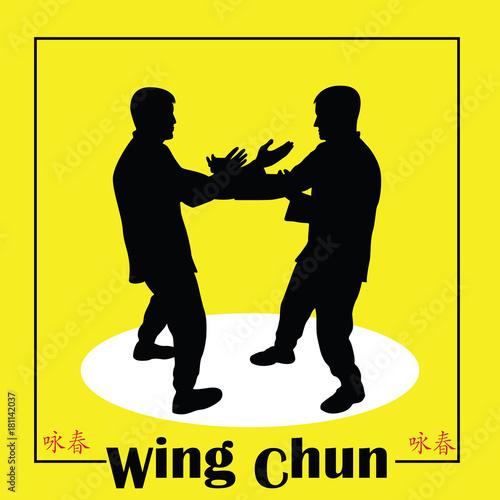 Stampa su Tela Illustration, men demonstrate Kung Fu Wing Chun.