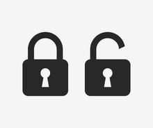 Lock Icon, Black Isolated On G...