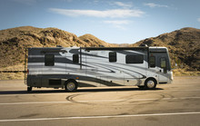 Self-propelled Recreational Vehicle Parking In The Desert