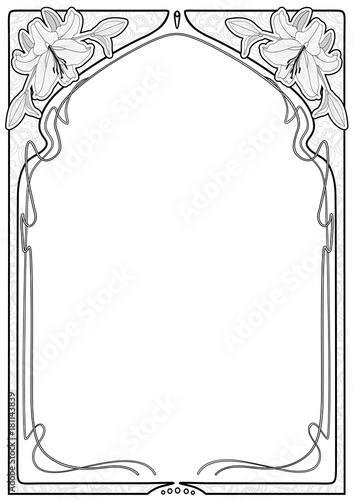 Rectangular decorative frame with art Nouveau ornament. Wall mural