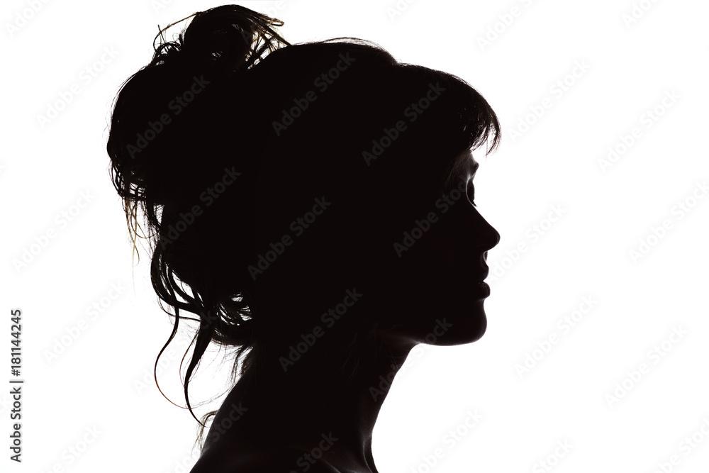 Fototapeta silhouette of beautiful profile of woman face concept beauty and fashion
