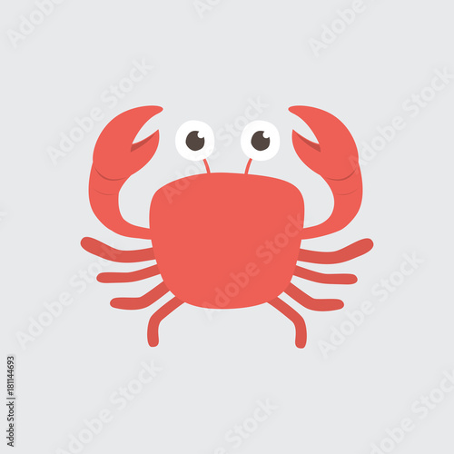 Funny cartoon crab on white background Wallpaper Mural